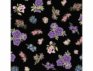 Floral - Purple Black