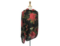 UTAS Black/Red Large Floral Scarf