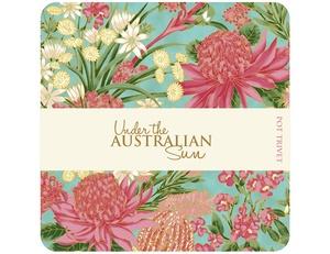 Under the Australian Sun Trivet - Teal/Pink Foral