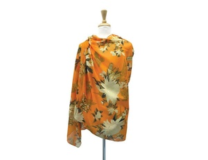UTAS Orange/Cream Large Floral Scarf